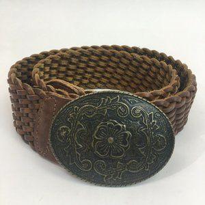 Banana Republic Braided Woven Leather Belt Med